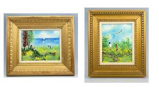 Pair of Louis Cardin Enamel On Copper Landscapes