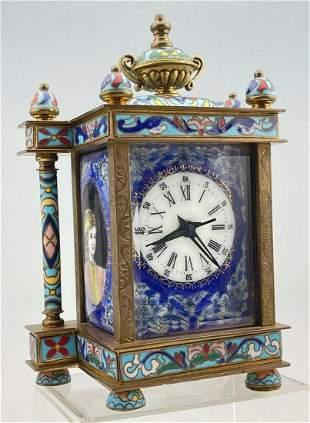 Chinese Cloisonne Enamel Mantle Clock