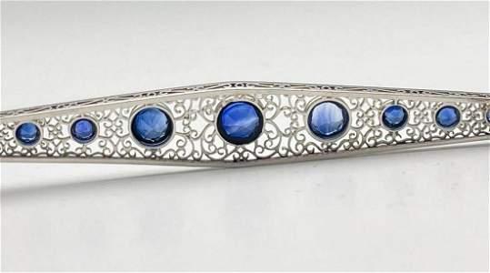 Antique Hand Cut Platinum Blue Sapphire Bar Pin