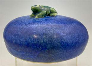 Frog on a Stone Art Pottery Garden Sculpture