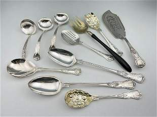 11 Silver Plated Serving Pieces, Berry Spoons,