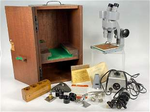 Vintage Microscope in Wooden Travel Case
