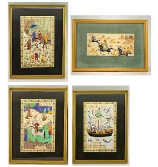 Lot of Four Persian School Paintings, Three on Silk,
