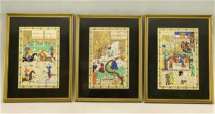 Lot of Three Persian School Paintings on Silk,