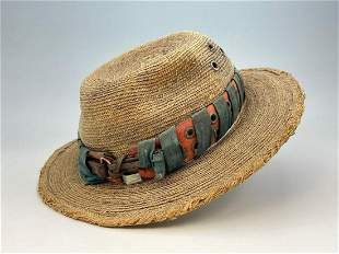 Vintage Straw Panama Style Hat with Leather Band