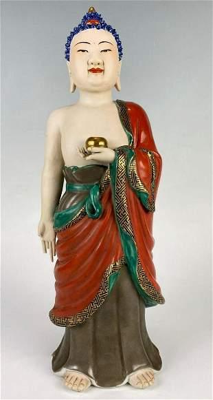 Fine Chinese Porcelain Buddha with Gilt and Enamel
