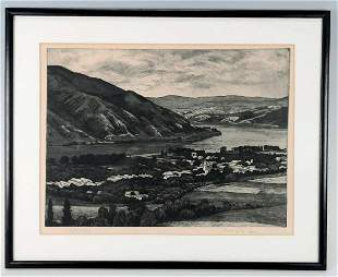 Landscape of a Town, Etching on Paper, Illegibly Signed