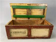 Antique Painted Wooden Traveling Trunk