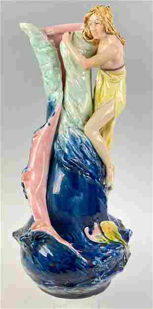 Royal Dux Art Pottery Figural Vase, Woman on Nautical
