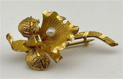 18k Gold Hawaiian Orchid Pin with Pearl,