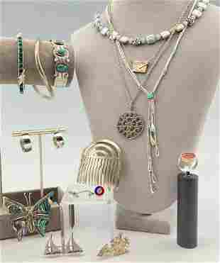 Large Costume Jewelry lot of Sterling Silver Jewelry,