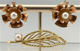 14k Leaf Pin and 10k Gold Earrings with Pearl total