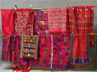 9 Vintage Mesoamerican Textiles in Red