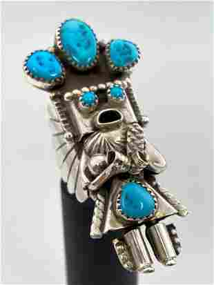 Navajo Sterling Silver and Turquoise Kachina Ring by