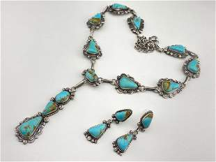 Spectacular Navajo Sterling Turquoise Necklace and