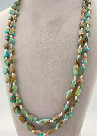 Navajo 2 Strand Natural Turquoise Nugget Necklace