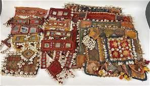 Lot of 15 Mixed Vintage Shisha Textiles With Shells