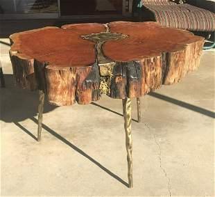 Mid Century Modern Bronze Redwood artist studio table