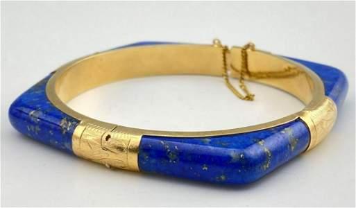 14K Gold Lapis Bracelet, 26.5g