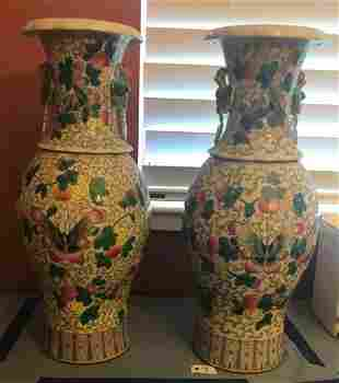 Pair of Chinese enamel decorated porcelain bases with