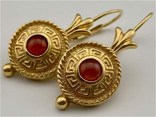 Pair of 14K Gold Garnet Earrings