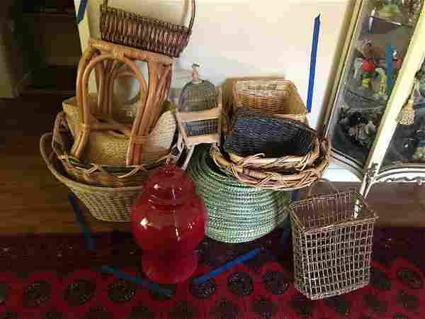 Large grouping of decorative baskets pots and birdcage