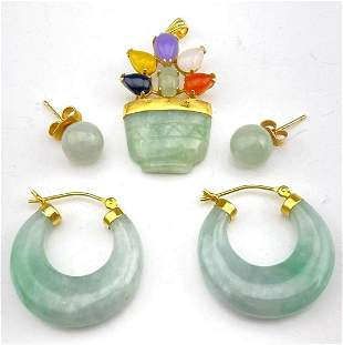 14K Gold Jade Jewelry Lot