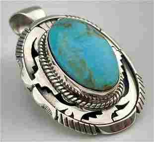 Navajo Sterling Silver Turquoise Pendant, Signed By