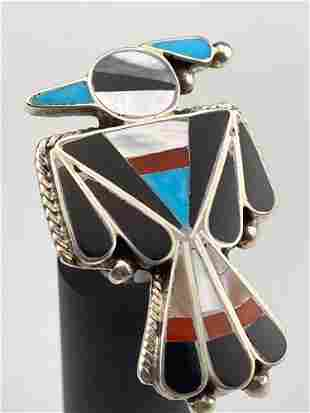 Zuni Thunderbird Ring, Sterling With Inlaid Onyx,