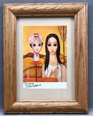 """Hand Signed Margaret Keane """"Living Doll"""" Post Card"""