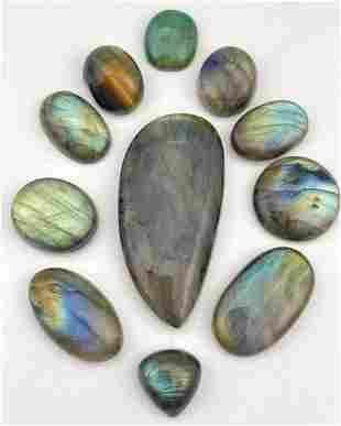 11 Labradorite and Semi Precious Stone Cabochons