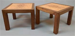 California Mid Century Modern Set of Wooden Square Side