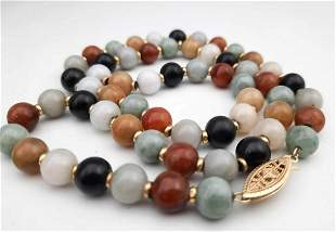 14k Gold and Stone Bead Necklace