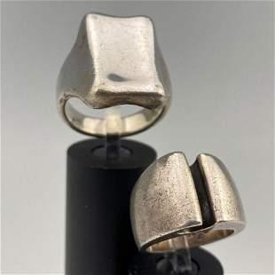2 Modernist Sterling Silver Men's Rings. 34.1 g
