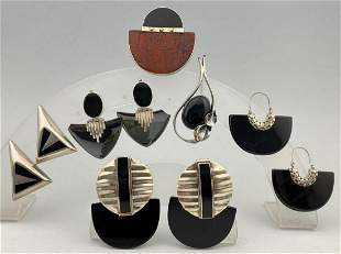 Art Deco Design Sterling Silver and Onyx Earrings and