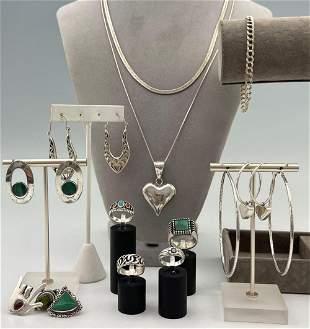 Sterling Silver Lot Of Earrings, Rings, Pendants,