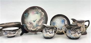 Japanese Dragonware Tea Set With The Lithophane Geisha