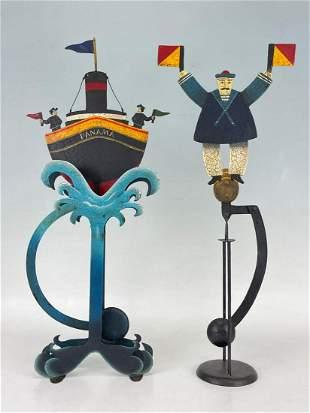 Pair of Whimsical Nautical Garden Art Balancing Figures