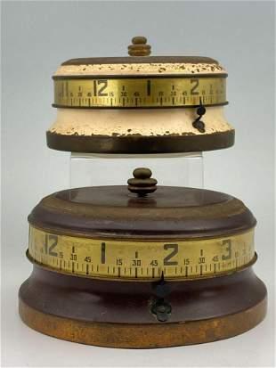 2 1930's Mystery Rotary Tape Measure Clocks.