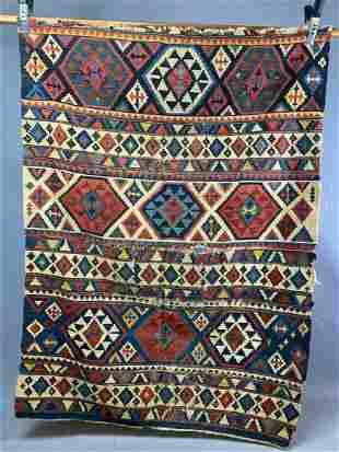 Older Caucasian Kilim Wool Rug in Colors Of Red, Blue,