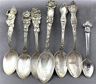 Seven Antique Sterling Silver Souvenir Spoons