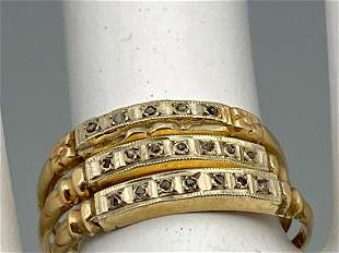 3 14K Gold And Diamond Rings. 2.8g