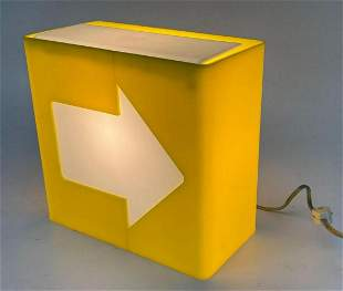 Mid Century Pop Art Yellow Arrow Lamp