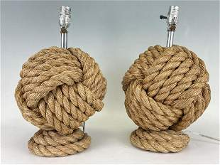 Pair of Decorator's Rope Knot Ball Form Table Lamps