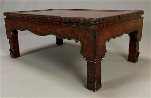 Baker Furniture Chinoiserie Red Lacquer Coffee Table,