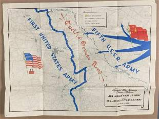 Rare WWII Elbe Day Map Dated April 1945