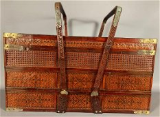 Older Chinese Carved and Woven Basket with Brass