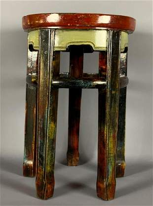 Chinese Antique Lacquer Painted Stool