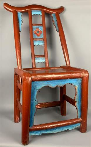 Antique Chinese Red And Blue Lacquered Chair