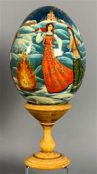 Artist Signed Russian Lacquered Fairytale Egg